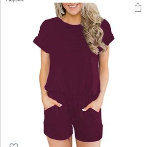 Short Sleeve Jumpsuit Rompers with Pockets